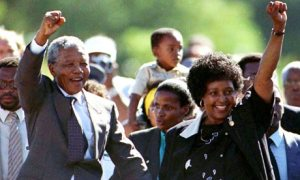 Nelson & Winnie Mandela, after Mandela's release from prison, 11th February 1990