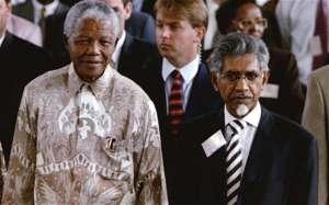 Former President Nelson Mandela and Mac Maharaj
