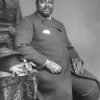 King Cetshwayo wearing western dress and his isicoco head-ring, London 1882