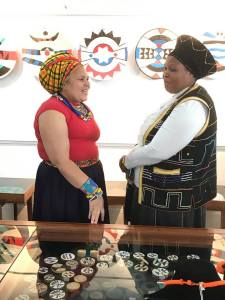 Hlengiwe Dube (left) at the opening of 'Hear Me Out', Phansi Museum, August 2017