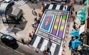 Mural in honour of Esther Mahlangu by Imani Shanklin Roberts, Franklin Street, NYC