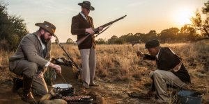 Twin Mosia taking part in a reenactment of the Anglo-Boer War