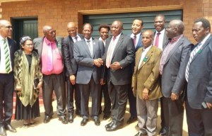 Jesse Duarte, Ace Magashule, Cyril Ramaphosa, Paul Mashatile and Dr. BE Lekganyane (centre), Moria, March 2018