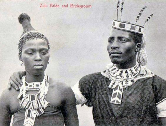 """Vintage postcard of """"Zulu Bride and Bridegroom"""""""