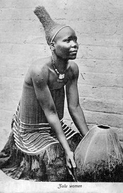Vintage postcard of Zulu woman, circa 1910