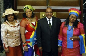 Former President Jacob Zuma with three of his six wives