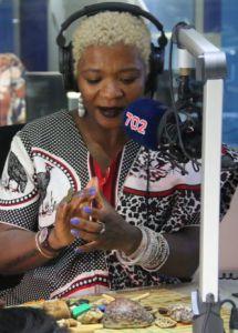 Gogo Dineo Ndlanzi doing a radio consultation on 702, December 2018