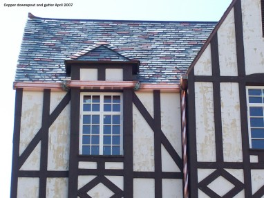 Copper downspout and gutter2