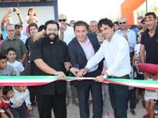 Al taglio del nastro, da sinistra Riccardo Pascolini, Claudio Banditelli, Andrea Romizi