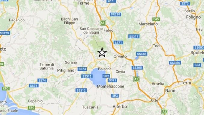 Forte scossa di terremoto nell'Orvietano, gente in strada