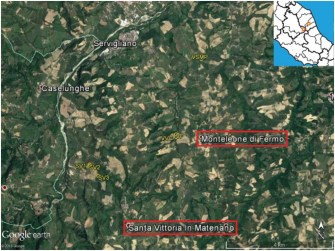 Figura 1. Posizione dei punti di emissione e loro localizzazione rispetto all'epicentro del terremoto del 30 ottobre (stella nel riquadro in alto a destra).