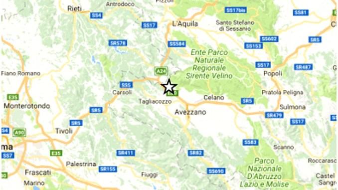 Scossa di terremoto in provincia de L'Aquila di magnitudo 3,9