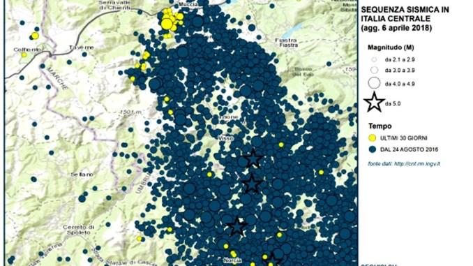 Terremoti in Italia Centrale, ecco le cartine sismica delle ultime scosse