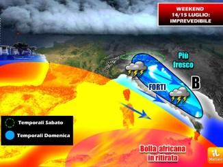 Meteo, folle weekend in 24 ore, sabato 14 luglio caldo africano, domenica 15 grandine