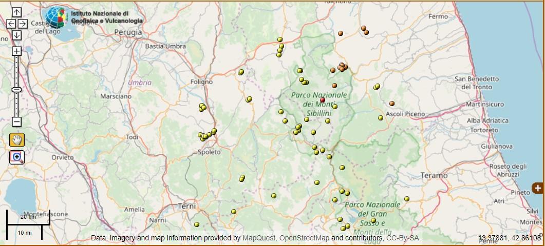 Scossa di terremoto nelle Marche, magnitudo 2.7, avvertito anche in Umbria
