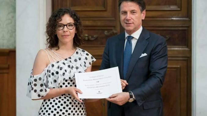 Giuseppe Conte ha premiato la studentessa nursina Eugenia Brandimarte