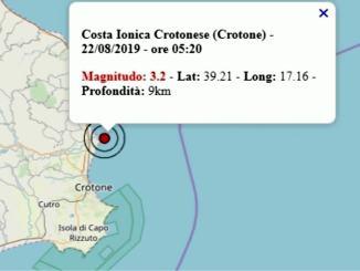 Terremoto in Calabria scossa M 3.2 costa ionica crotonese Dati Ingv