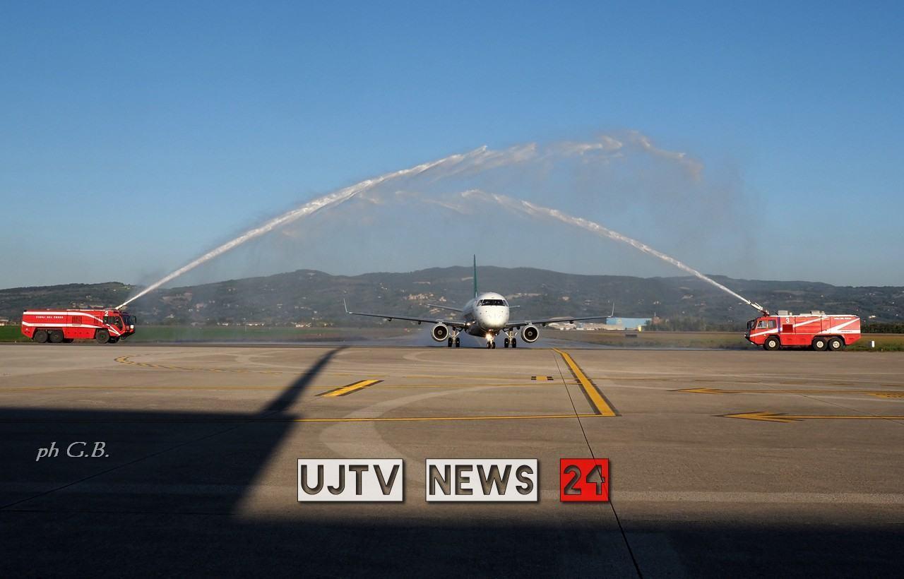 Atterrato il primo volo Transavia da Rotterdam, aeroporto Perugia operativo