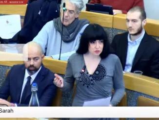 Vicenda Nilo Arcudi, Sarah Bistocchi centrosinistra, faccia passo indietro