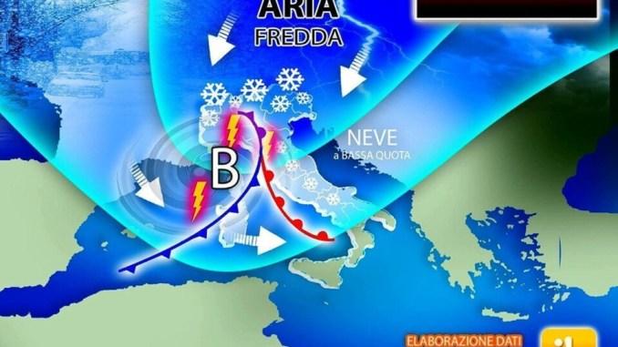 Coda dell'inverno a metà settimana, neve e crollo delle temperature