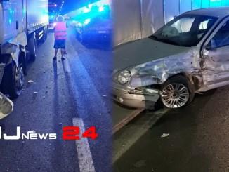 Incidente stradale in galleria nella notte, auto contro Tir sul Raccordo RA6