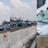 Violenta grandinata spacca anche parabrezza auto lungo A1 Milano 🔴 VIDEO
