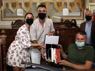 Leonardo Spinazzola ricevuto in comune a Foligno dal sindaco