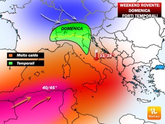 Meteo, Weekend rovente, domenica violenti temporali al Nord