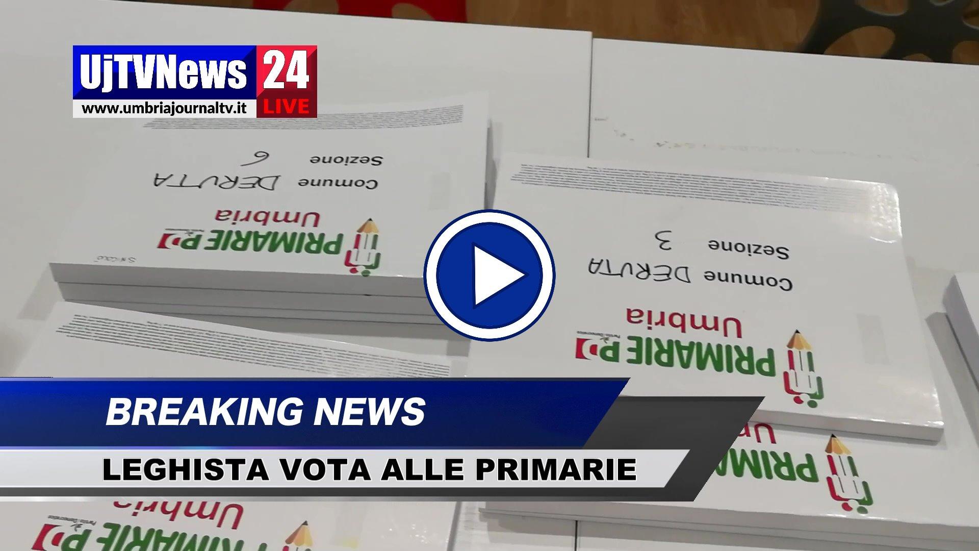 Assessore della Lega va a votare alle Primarie del Pd, video del seggio di Deruta