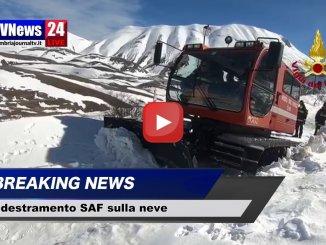 Gatto delle Nevi e Vigili del fuoco a Castelluccio di Norcia per esercitazioni