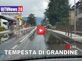 Tempesta di grandine, tuoni e fulmini tra Perugia e Bastia (VIDEO)