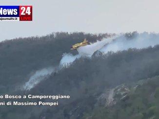 Bosco in fiamme a Caomporeggiano di Gubbio, anche canadair in azione