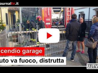 Incendio garage a Ponte san Giovanni, auto in fiamme, distrutta
