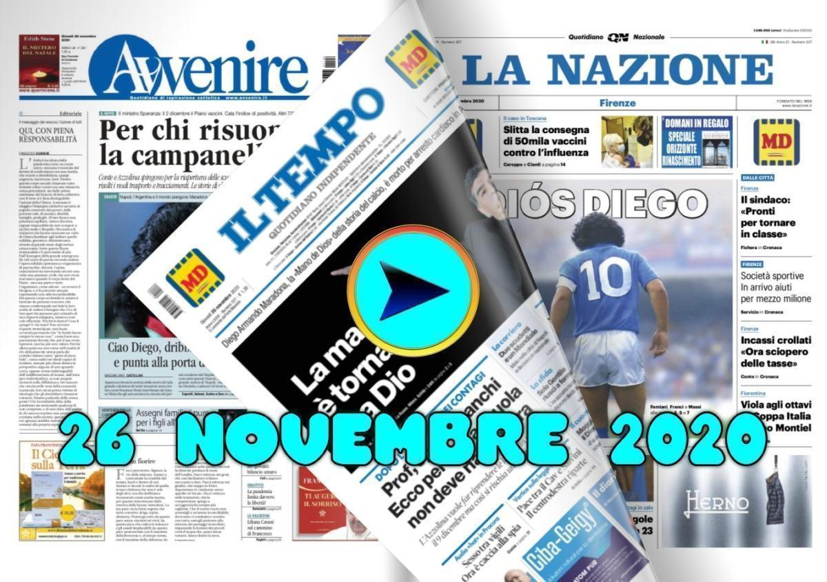 La video rassegna stampa del 26 novembre 2020, prime pagine in pdf