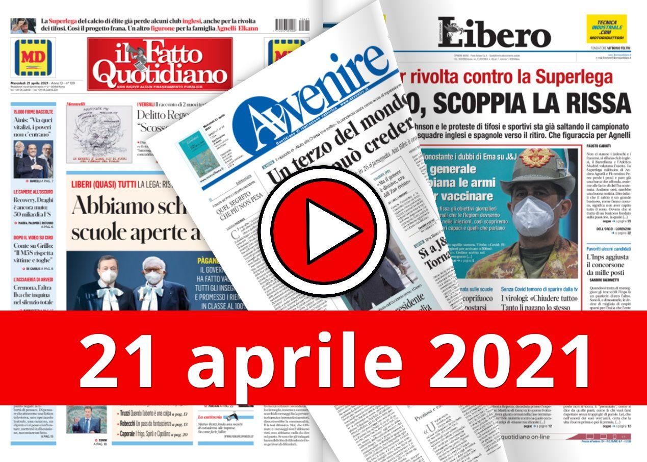 La video rassegna stampa del 21 aprile 2021, prime in pdf
