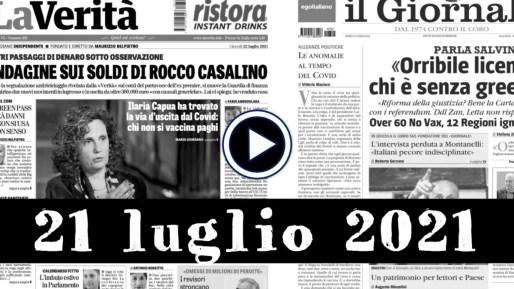 Video rassegna stampa, giornali pdf, prime pagine 22 luglio 2021