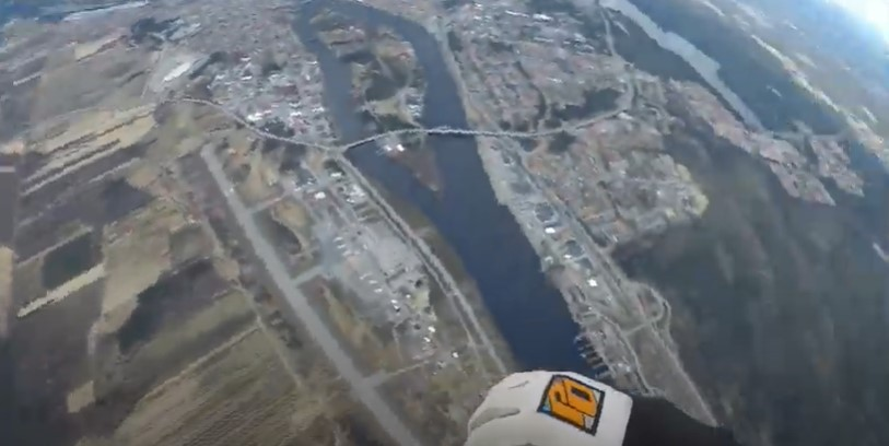 Still image from video of first jump of Umeå Sky Diving Club. -Umeå Fallskärmsklubb