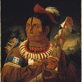 "Kane, Paul, Cunnawa-bum (Cun-naw-wa-bum) ""One that looks at the stars,"" 1849-56, oil on canvas, 64.2 x 51.5 cm. Toronto: Royal Ontario Museum."