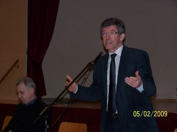 Frédéric Reiss lors de la Reunion publique sur l'Education, le 5 février 2009 à Drulingen