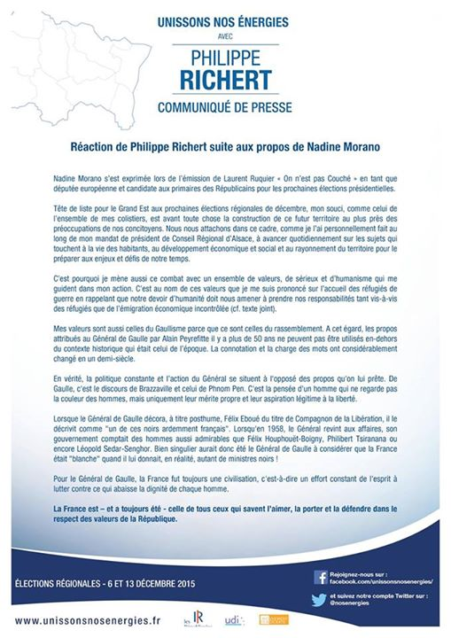 Reaction Philippe RICHERT propos Nadine MORANO