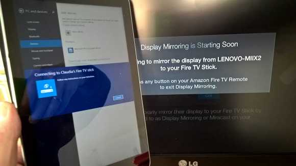 Lenovo Miix 2 can connect to the FireTV Stick, but not in any useful way.