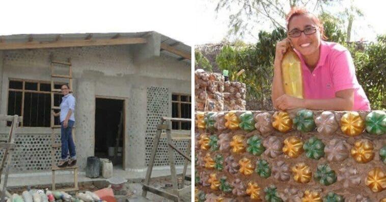 Mulher constrói casas feitas com garrafas pet para pessoas necessitadas em apenas 20 dias