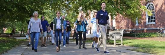 senior Marc Gehlsen gives a tour of campus