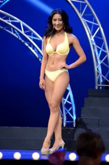 UMW senior Miss Hanover Amanda Lynn Short sported a pale yellow bikini during the swimsuit segment of the 2017 Miss Virginia Pageant. Photo by Julius Tolentino