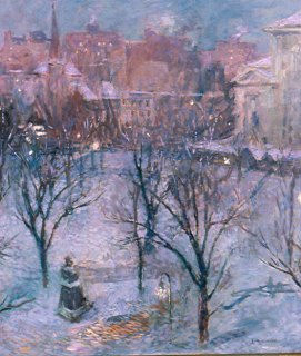 Bryant Park Twilight by Gari Melchers circa 1906-1907