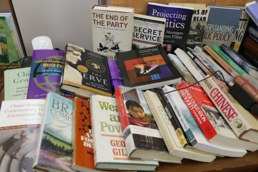 Faculty members from UMW's Department of Political Science and International Affairs contributed to a book drive, headed by Professor Steve Farnsworth. The books were given to al-Farabi University in Kazakhstan.