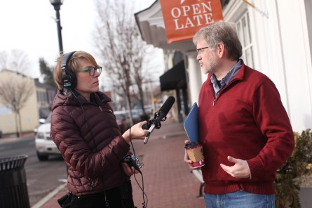 UMW Professor of Geography Steve Hanna is interviewed in downtown Fredericksburg by With Good Reason's Kelley Libby. The show airs locally on Sunday at 2. Photos by Karen Pearlman.