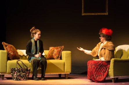 Ashleigh DiBenedetto '20 and Marsha Kangas '18 perform in Dead Man's Cell Phone, which opens Thursday, Feb. 15 in Klein Theatre.