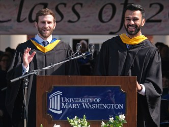 Robert Davis, left, and Abbas Haider urged graduates to take risks.