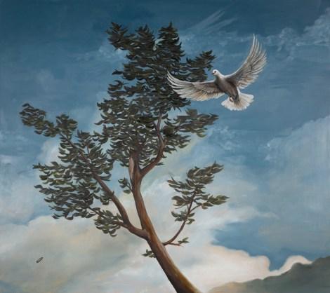 Chris Musina, Columbine Means Dovelike. Oil on Canvas, 2017.